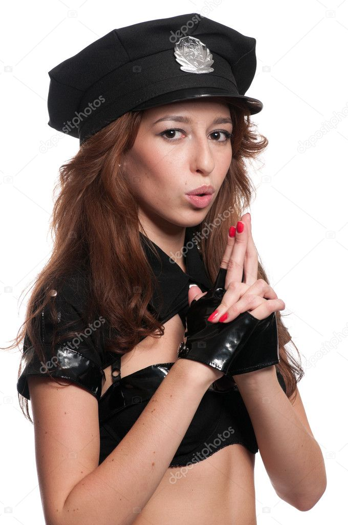 Beautiful Police Woman In Sexy Costumeu2013 Stock Image