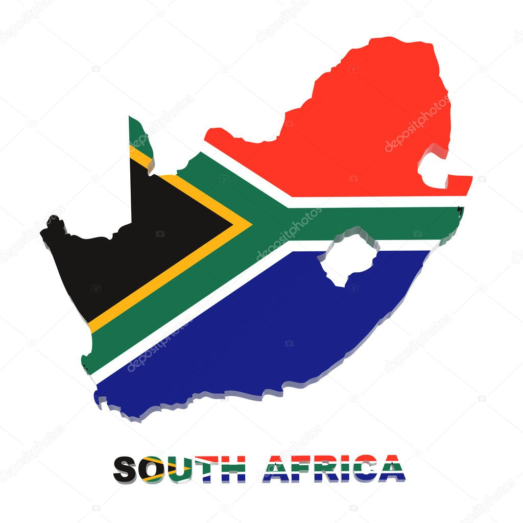 South Africa map with flag isolated on white clipping path