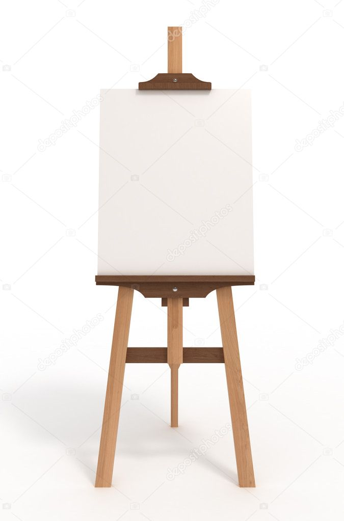 Blank art board, easel, isolated on white, with clipping path