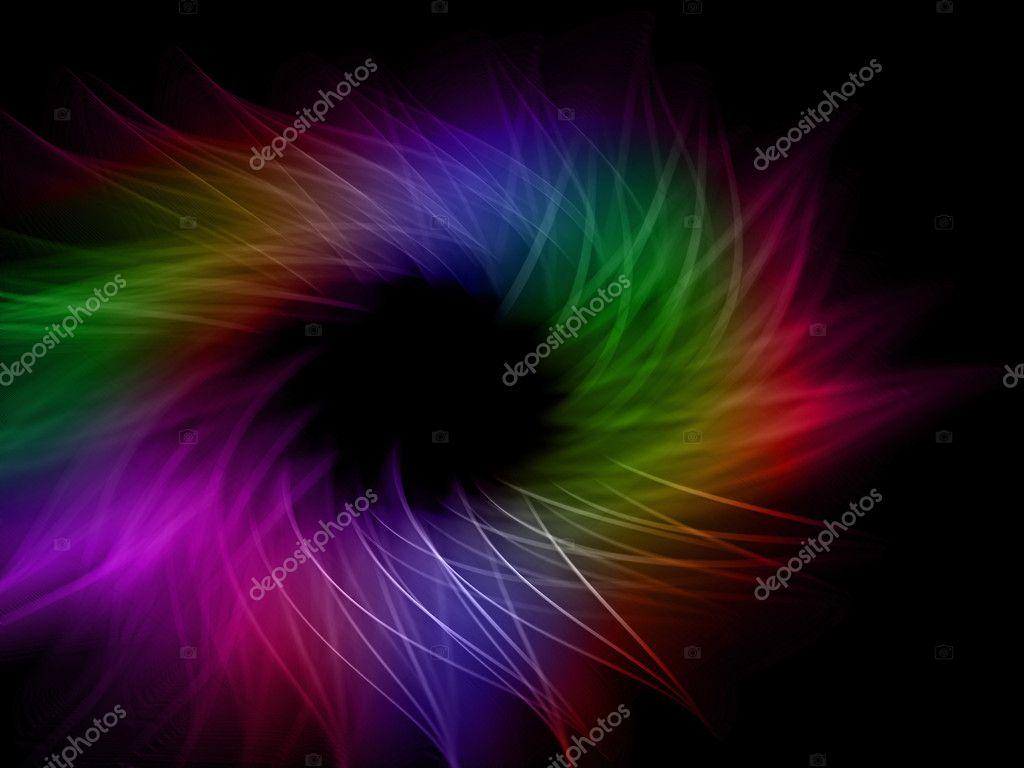 Kleur Veel Kleur : Veel kleur en golf lijnen op een zwarte achtergrond u stockfoto