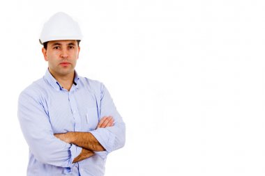 Portrait of young male civil engineer. Isolated on white backgro