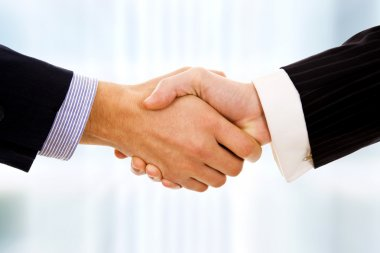Closeup picture of businesspeople shaking hands, making an agree