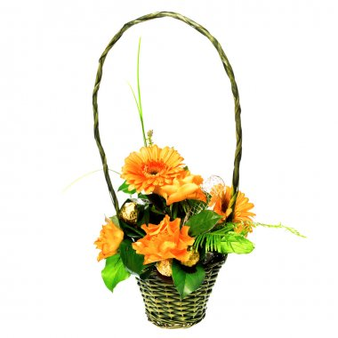 Bouquet of roses and gerberas in basket