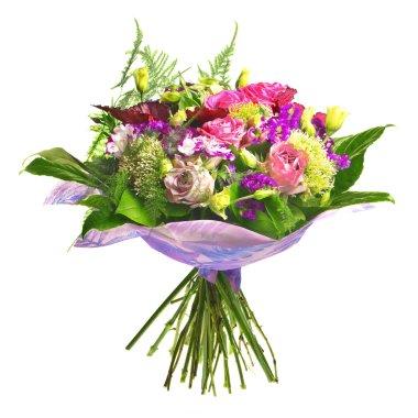 Beautiful bouqet of tea roses and alstromeria