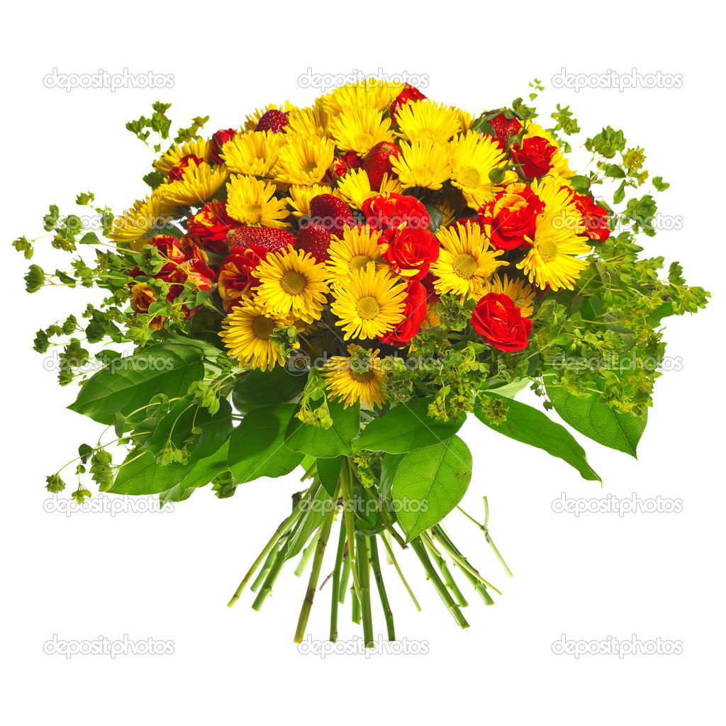 Bouquet of gerberas, roses and strawberry