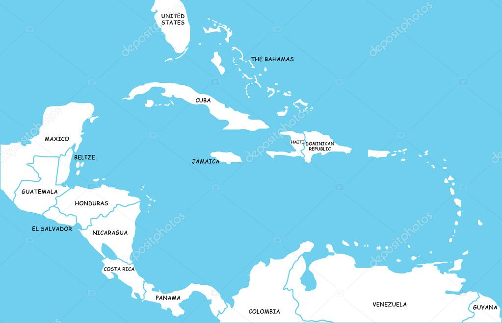 Map Of Caribbean Islands Stock Photo Lina - Caribbean islands map