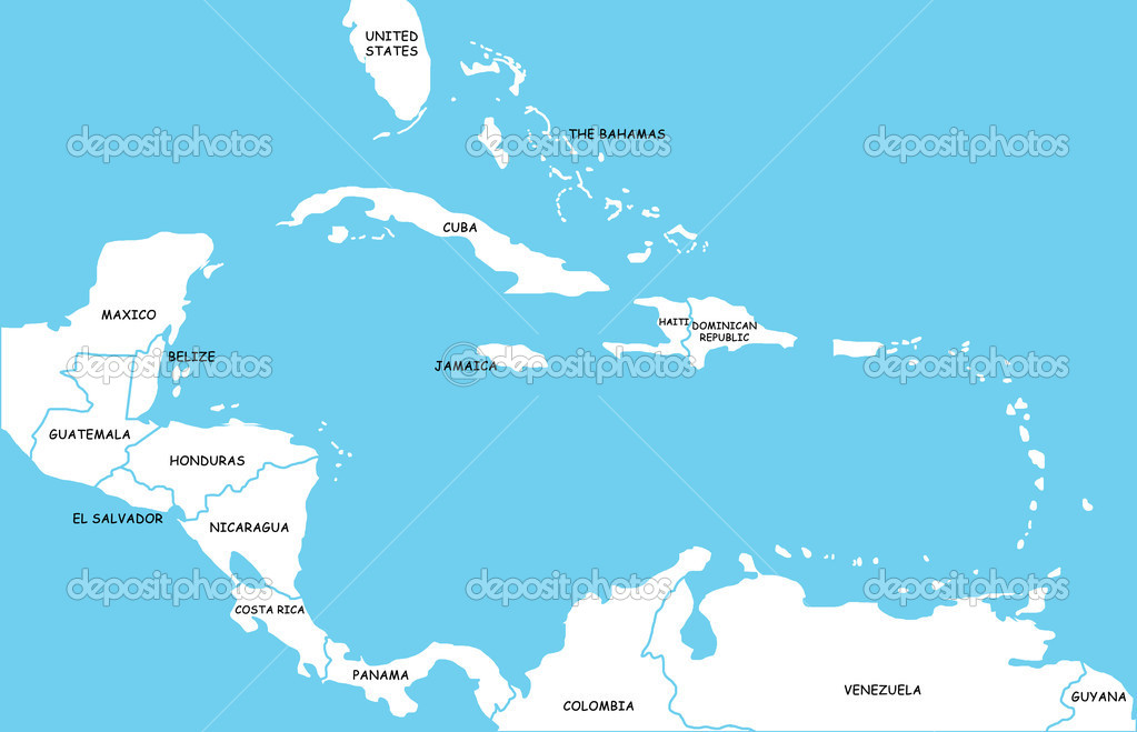 Map Of Caribbean Islands Stock Photo Lina - Map of caribbean islands