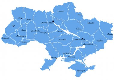 Map of Ukraine with cities