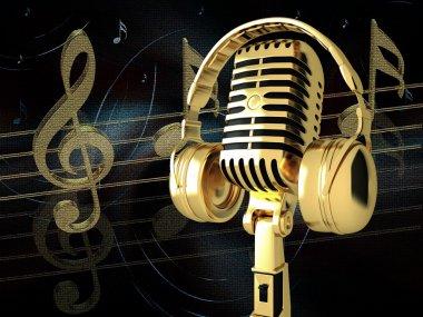 Microphone with headphones