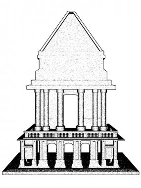 "Картина, постер, плакат, фотообои ""древний храм арт города"", артикул 9782905"