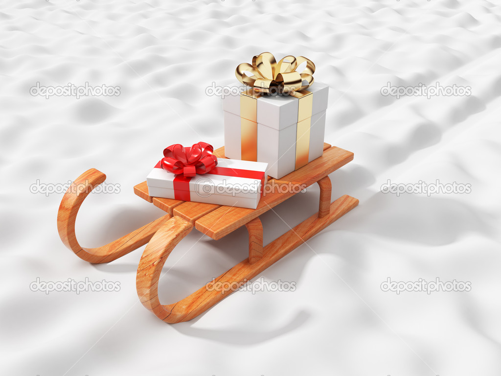 Gift on wooden sled, going on snow. Christmas concept. 3D illus ...