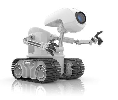 Futuristic robot talk. Artificial intelligence concept. 3D isol