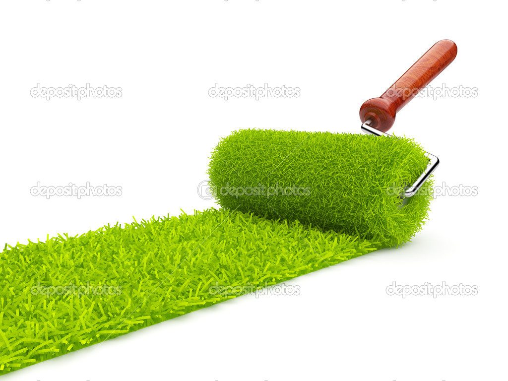 Green paint of grass. Roller isolated on white background. 3D il