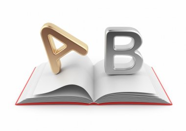 Symbols of alphabet on book 3D. Dictionary icon. Isolated on wh