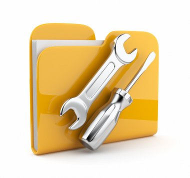 Yellow folder with wrench and screwdriver. Icon 3d . Computer se
