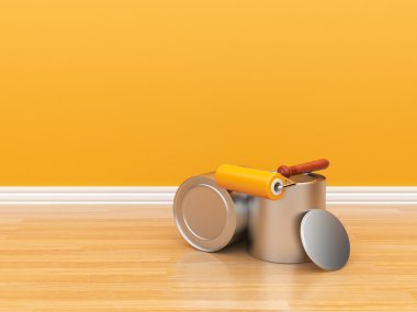 Painting of an empty orange wall. Renovation house. 3D illustrat