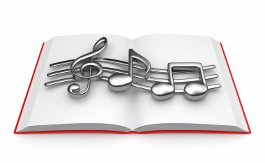 Musical note on opened book 3D. Isolated on white background
