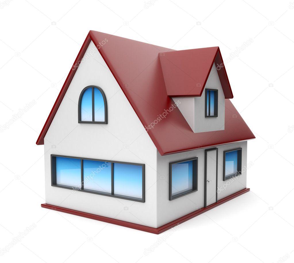 ein kleines haus symbol 3d isoliert auf wei em hintergrund stockfoto flashdevelop 9579065. Black Bedroom Furniture Sets. Home Design Ideas