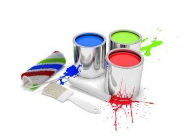 Paint cans with paintbrush