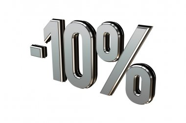 Percentage as symbol of shopping discounts up to 10