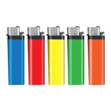 Graphic illustration of lighters over white background