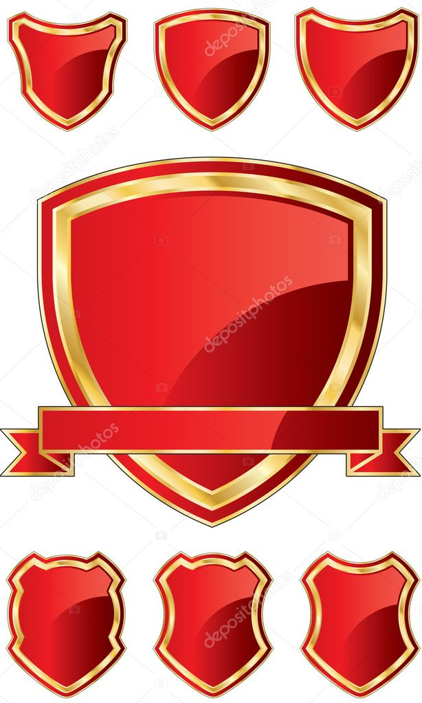 Shield Template E - RED SET — Stock Vector © faberfoto #10273160