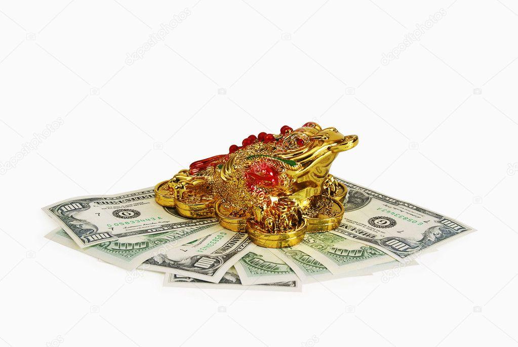 Feng Shui Argent le symbole du crapaud de feng shui doré pour attirer l'argent