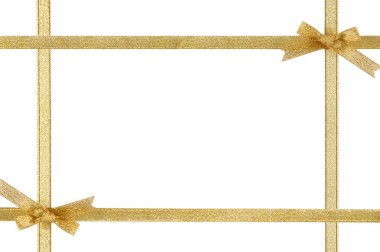 Holiday frame with gold ribbons and bows
