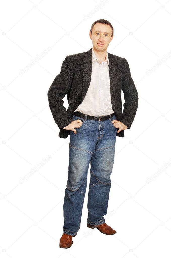 sports shoes a3c4a c86e5 Uomo in giacca e jeans blu scuro — Foto Stock © a-poselenov ...