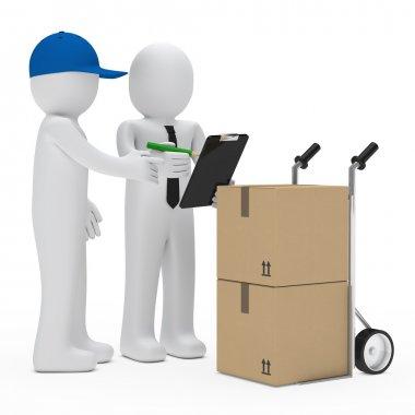 Supplier figure bring package businessman make sign stock vector