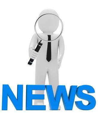 Businessman magnifying glass news