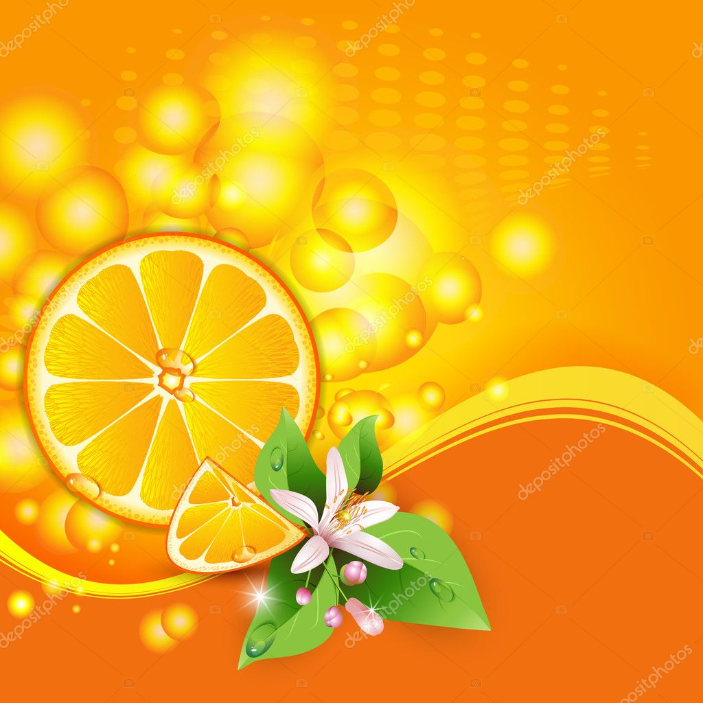 Abstract background with juicy slices of orange fruit