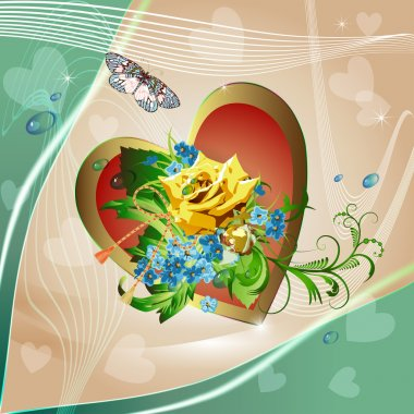 Yellow rose and heart on elegant light background