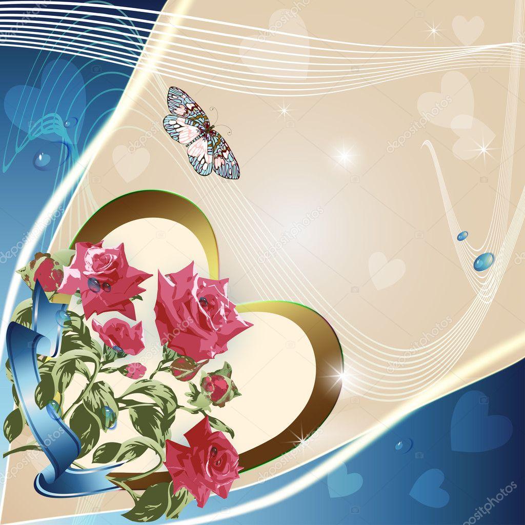 Pink roses on elegant background