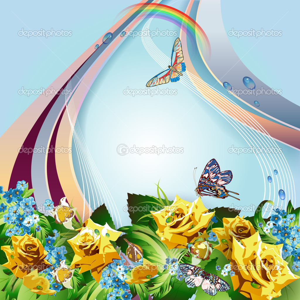 Background with yellow roses