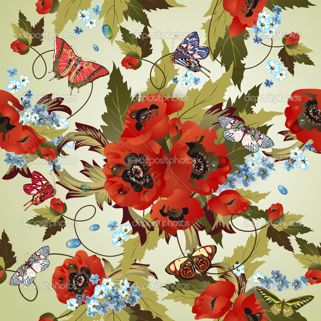 Beautiful seamless pattern with poppies