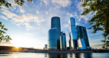 Moscow City and the River Lee. sun