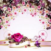 háttérben virágok