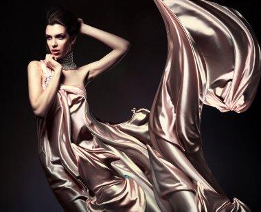 Attractive woman in beautiful fabric
