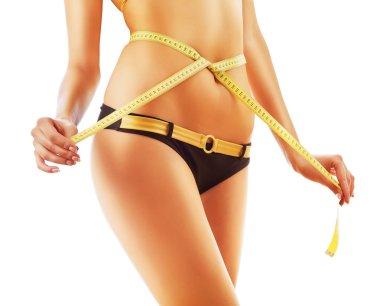 Slimming woman body in panties with measure