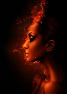 "Картина, постер, плакат, фотообои ""профиль горящей женщины "", артикул 9285142"