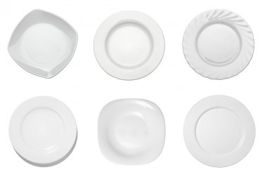 Collection of empty white plates on white background. each one is shot separately stock vector