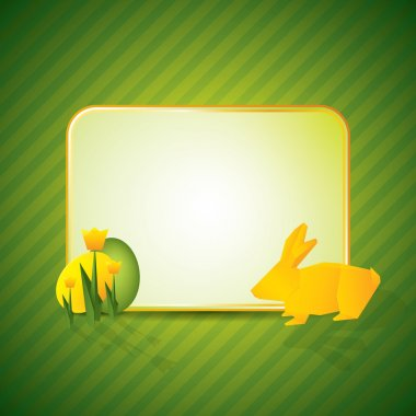 Easter concept with origami bunny and tulips stock vector