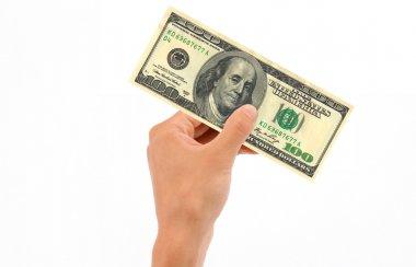 Hand Holding 100 Dollar Bill