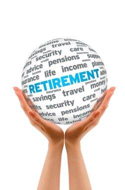 Hands holding a Retirement 3D Sphere