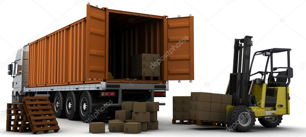 seefracht container lieferfahrzeugs stockfoto 9280353. Black Bedroom Furniture Sets. Home Design Ideas