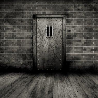 Grunge interior with prison door