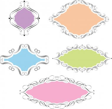 Collection of decorative frames using pastel colours stock vector