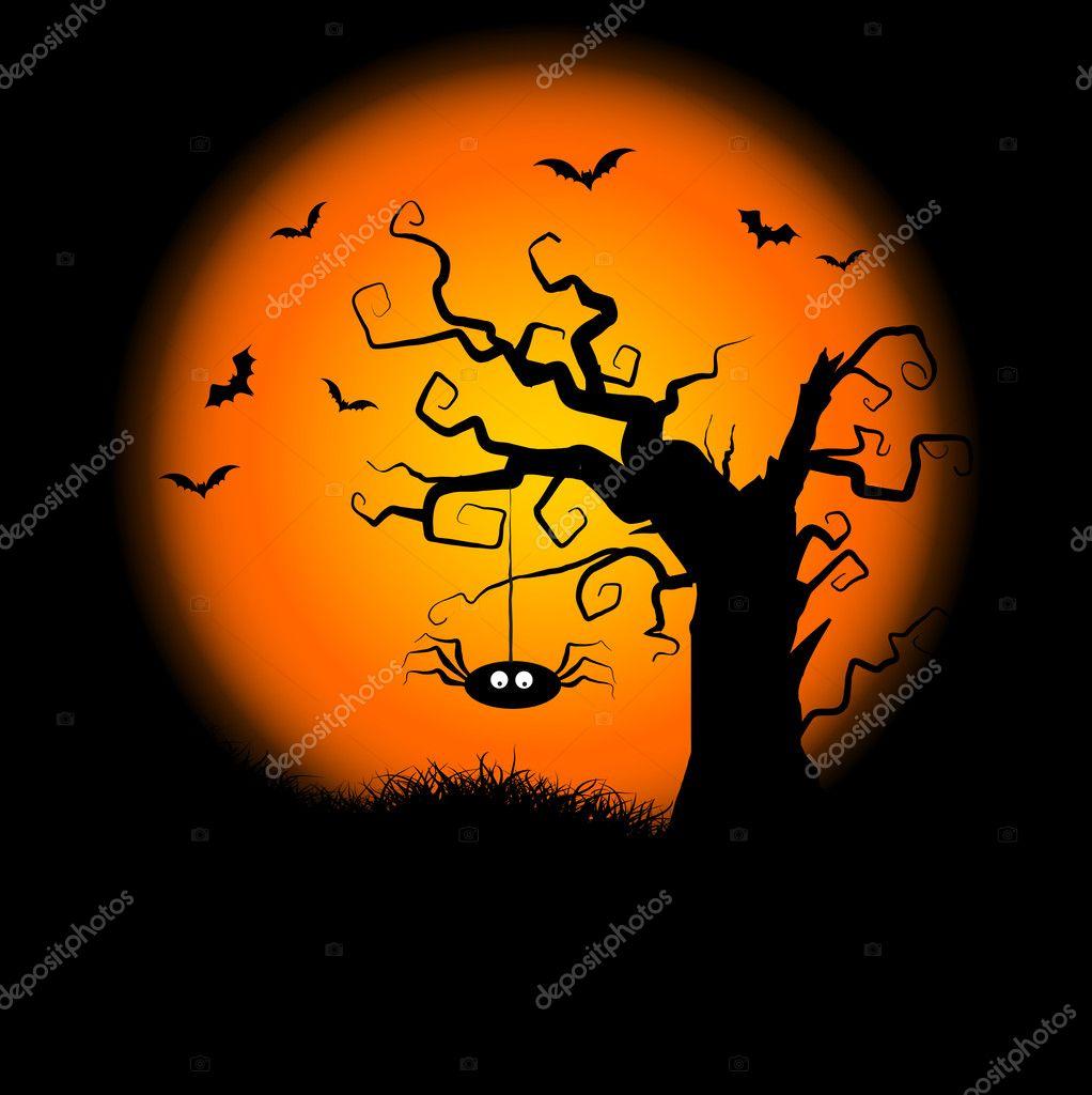 Spooky halloween tree background stock photo for Creepy trees for halloween