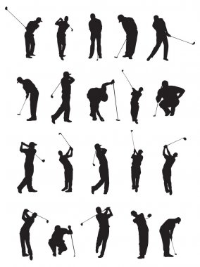 20 golf poses silhouette.